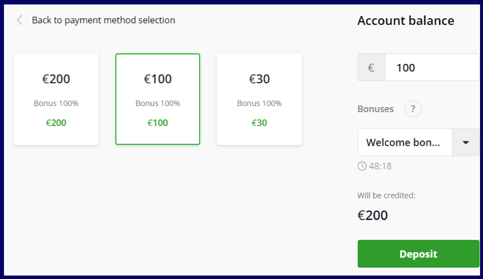 Select amount of deposit on Olymptrade broker