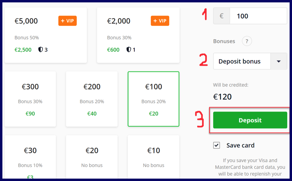 Amount for deposit on olymptrade.com broker after registration.