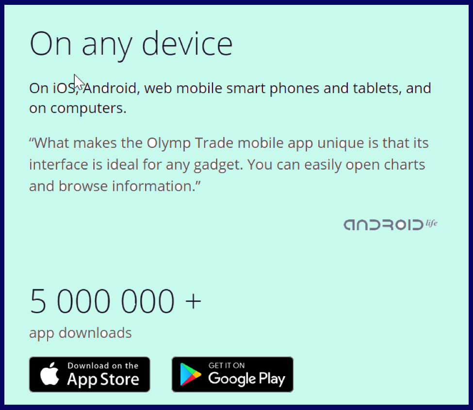 Can I use DEMO on olymptrade.com mobile app?