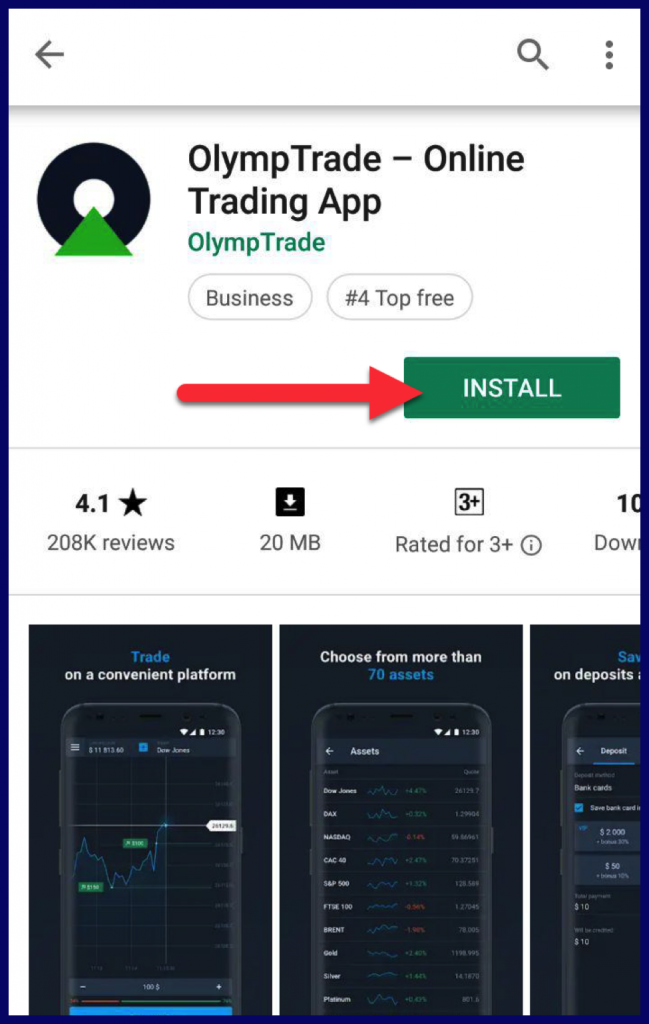 How to install OlympTrade android app?