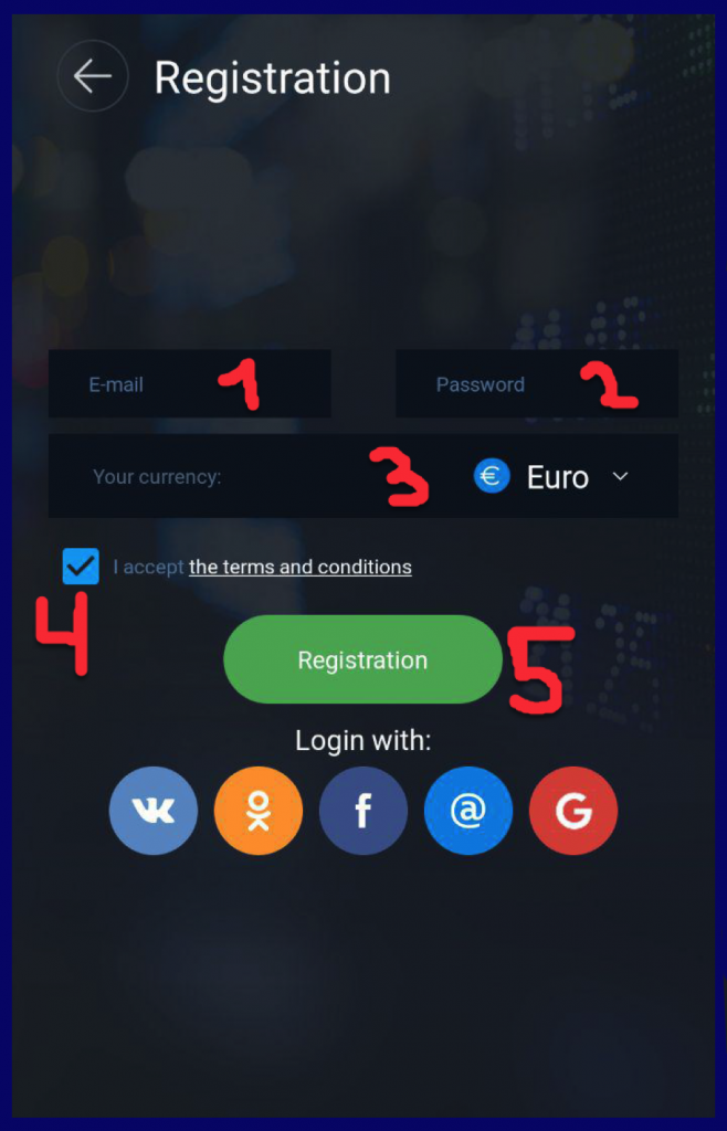 How to register account in OlympTrade android app?