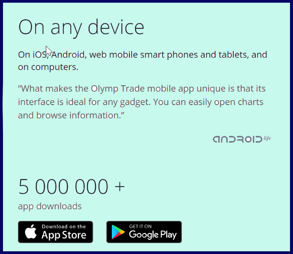 Is olymp trade real account same on web and mobile apps?