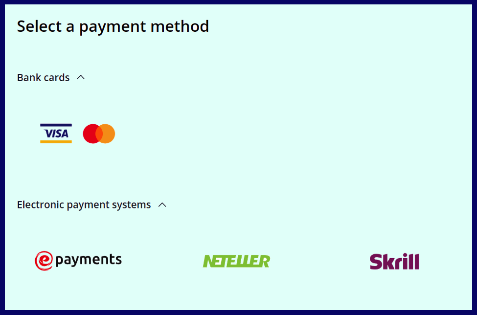 Payment method after registration for real accounts on olymptrade.com