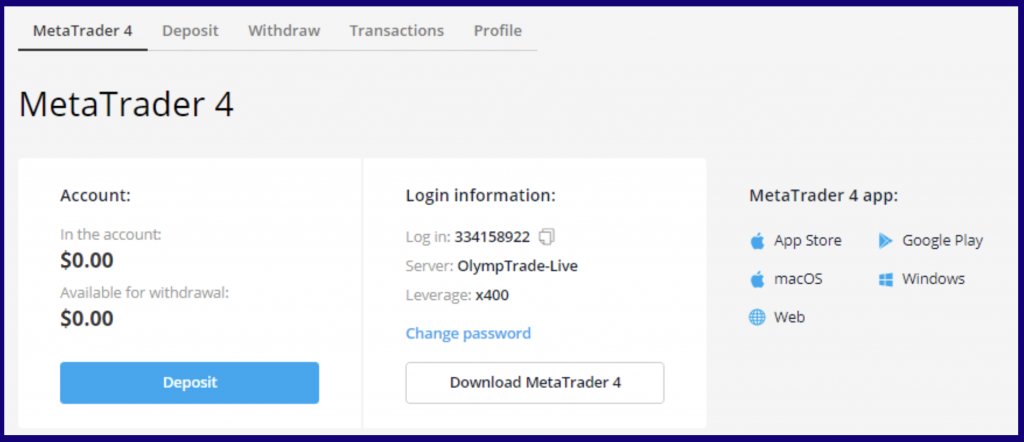 Download the terminal file MetaTrader 4 for trading on OlympTrade