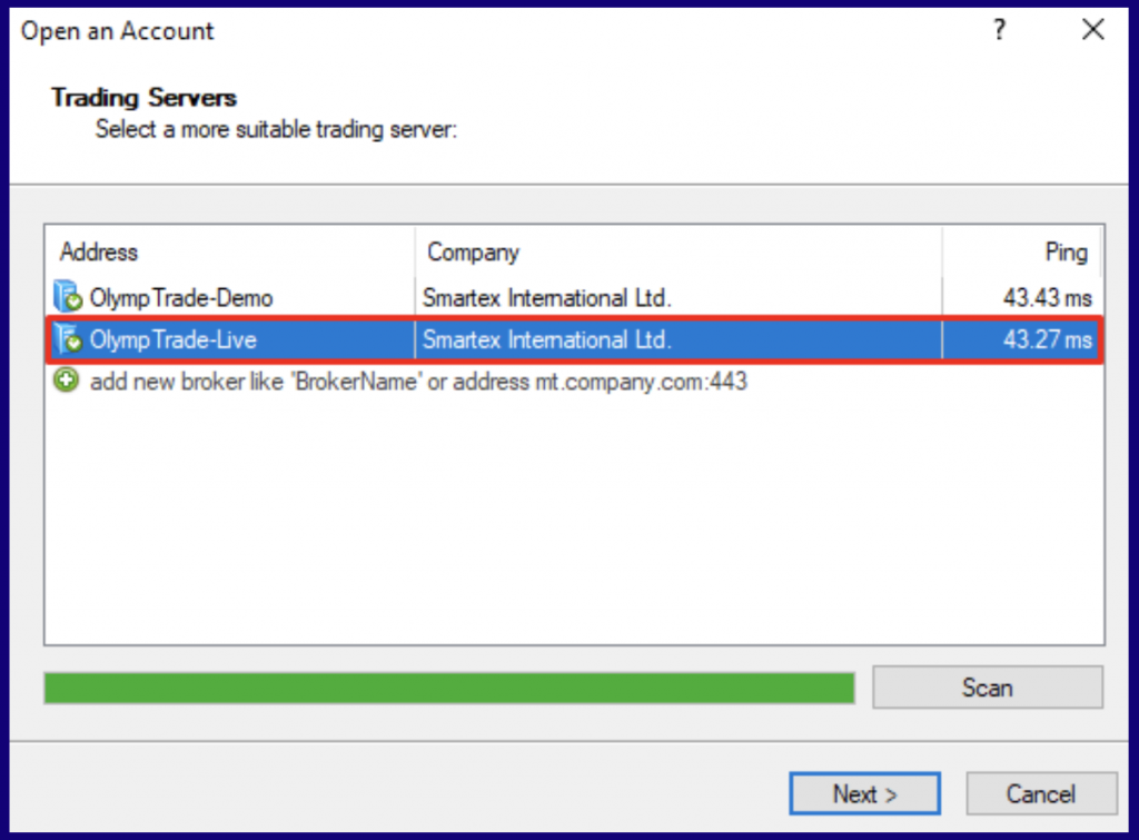 MetaTrader 4 select the trading server
