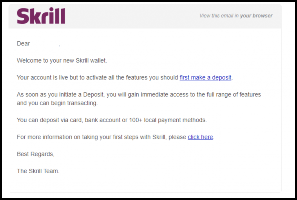 Skrill email activate account