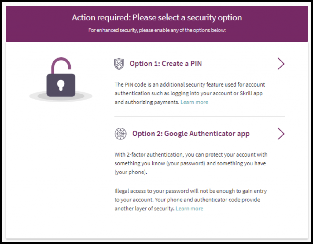 Skrill select a security option for Skrill account