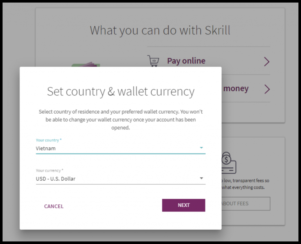 Select country and currency to Skrill account for OlympTrade