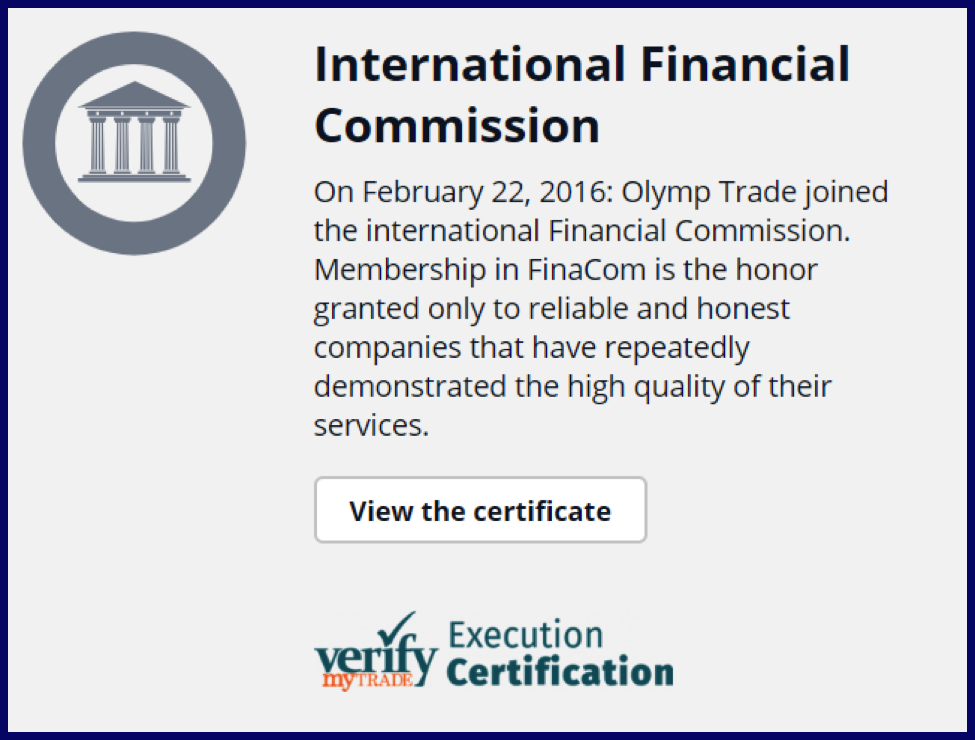OlympTrade regulated by the International Finance Commission