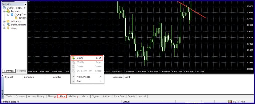 add an alert with MetaTrader 4
