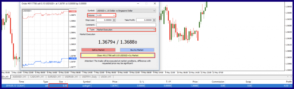 close a part trade with MetaTrader 4