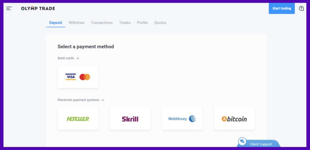 select a payment method for OlympTrade