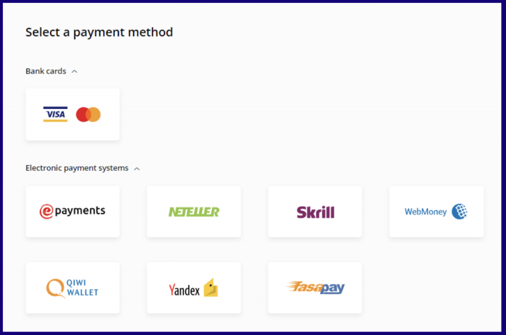 Select a payment method to make deposit on OlympTrade