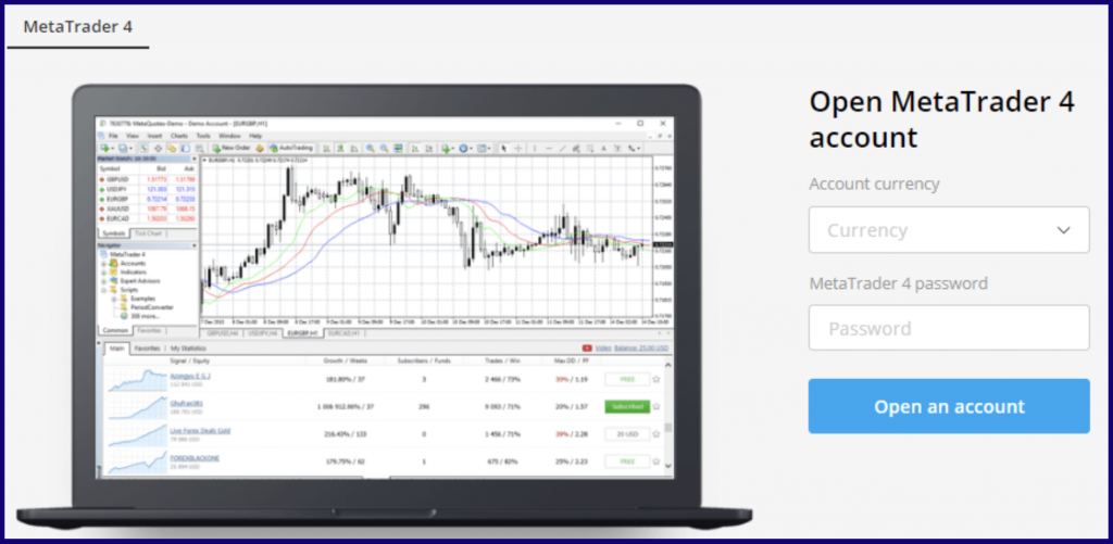start using MetaTrader 4 on OlympTrade